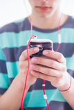 Teenager with gadget Royalty Free Stock Images