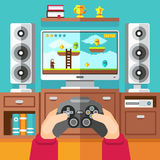Teenager gaming video game with gamepad and playstation vector illustration. Boy playing in video game with joystick Stock Image