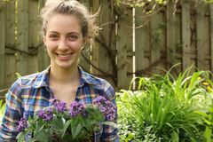 Teenager gardening Royalty Free Stock Photography