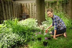 Teenager gardening Royalty Free Stock Image