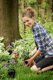 Teenager gardening Stock Images
