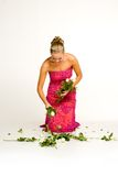 Teenager gathering roses Stock Photos