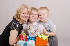 Teenager gave birthday gifts Royalty Free Stock Photo