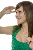 Teenager with gestures search. Hand indicates the look to the distance royalty free stock image
