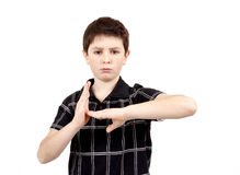 Teenager gesturing time-out Stock Images