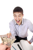 Teenager get a Money Royalty Free Stock Photos