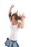 Teenager Girl. With flapping hair on white background Stock Images