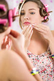 Teenager girl  with acne problem Royalty Free Stock Photos
