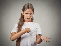 Teenager girl asking you talking to me? Stock Photos