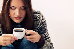 Teenager girl attractive enjoying coffee Royalty Free Stock Photo