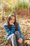 Teenager girl in the autumn forest Stock Photo
