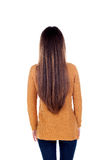 Teenager girl back with long hair Royalty Free Stock Image