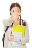 Teenager girl backpack make stop gesture. Stock Photos