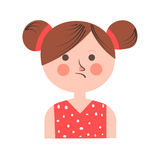 Teenager girl in bad mood with paid hair on white. Teenager girl portrait in bad mood with plaid hair isolated on white. Vector colorful illustration in flat Stock Image