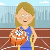 Teenager girl with ball standing on city basketball court. Teenager girl with a ball standing on city basketball court Stock Images