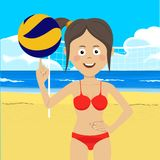 Teenager girl at the beach with volleyball Stock Images