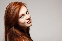 Teenager girl beautiful red hair cheerful Royalty Free Stock Photos