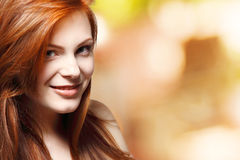 Teenager girl beautiful red hair cheerful Stock Image