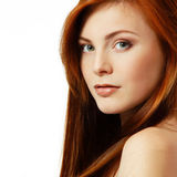 Teenager girl beautiful red hair cheerful enjoying Stock Photography