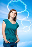 Teenager girl with blank thought bubbles Royalty Free Stock Images