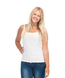 Teenager girl in blank white t-shirt. Picture of smiling teenager girl in blank white t-shirt stock photography
