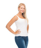 Teenager girl in blank white t-shirt. Picture of smiling teenager girl in blank white t-shirt stock images