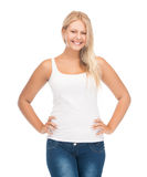 Teenager girl in blank white t-shirt. Picture of smiling teenager girl in blank white t-shirt royalty free stock photos