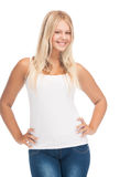 Teenager girl in blank white t-shirt. Picture of smiling teenager girl in blank white t-shirt stock photo