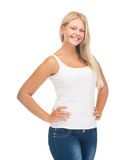 Teenager girl in blank white t-shirt. Picture of smiling teenager girl in blank white t-shirt royalty free stock photo
