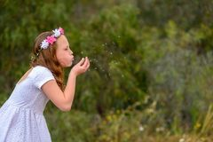 Teenager girl blowing dandelion. stock image