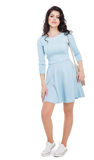 Teenager girl in a blue dress Royalty Free Stock Images