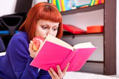 Teenager girl and book Royalty Free Stock Images