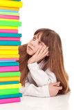 Teenager girl with books, bored Stock Photos