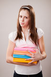 Teenager girl with books Royalty Free Stock Photo