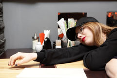 Teenager girl in cafe Stock Photos