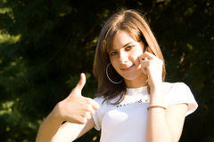 Teenager girl calling Royalty Free Stock Image