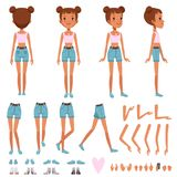 Teenager girl character constructor, creation set. Full length front, back and side view. Body parts and collection of Stock Photo