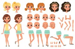 Teenager girl character creation set with various views, poses, face emotions, hands gestures and haircuts. Female. Character full length portrait. Flat vector Stock Photography
