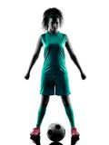 Teenager girl child  soccer player isolated silhouette Stock Image