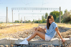 Teenager girl in city outskirts Royalty Free Stock Photos