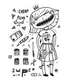 Teenager girl clip art drawing painting outline Stock Photos