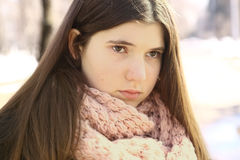 Teenager girl close up portrait o. N winter snow background Stock Images