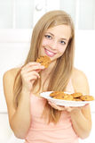 Teenager girl with cookies Royalty Free Stock Photography