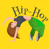 Teenager girl dancing hip hop style isolated vector illustration. Young cool dancer break dance motion, sexy women Stock Photo