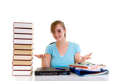 Teenager girl on desk Stock Photography