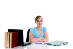 Teenager girl on desk Royalty Free Stock Photo