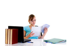 Teenager girl on desk Stock Photo
