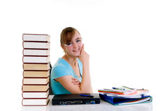 Teenager girl on desk Royalty Free Stock Photos