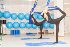 Teenager girl doing stretching and twine, aerial yoga Stock Images