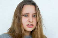 Teenager girl emotional posing isolated Royalty Free Stock Photo